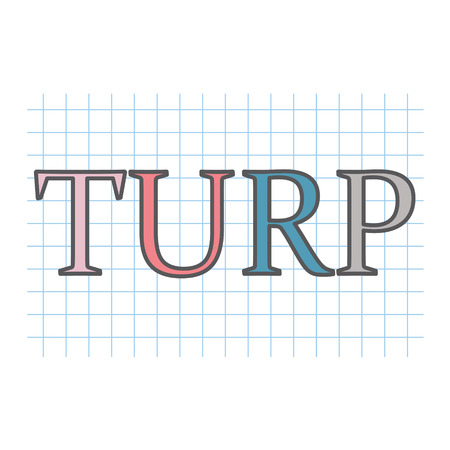 TURP (Transurethral resection of the prostate) acronym written on checkered paper sheet- vector illustration