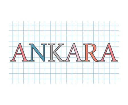 Ankara word on checkered paper texture- vector illustration