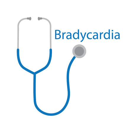 Bradycardia word and stethoscope icon- vector illustration