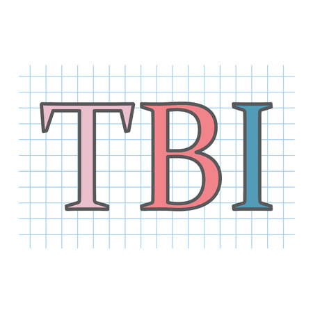 TBI (Traumatic Brain Injury) acronym written on checkered paper