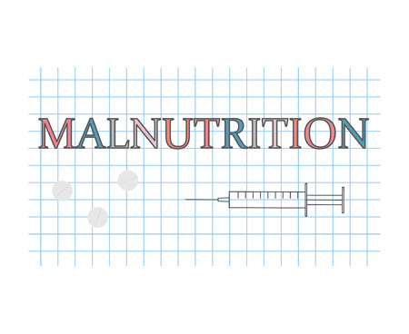 Malnutrition word on checkered paper sheet- vector illustration Vectores