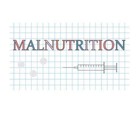 Malnutrition word on checkered paper sheet- vector illustration Stock Illustratie