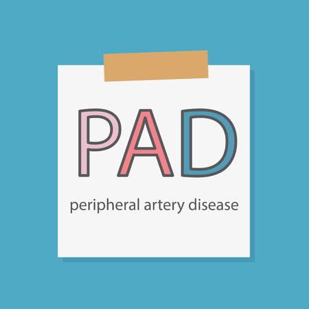 PAD Peripheral artery disease written in a notebook paper- vector illustration Ilustração Vetorial