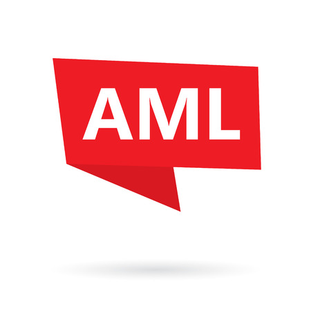 AML (Anti-money laundering) acronym on a sticker- vector illustration