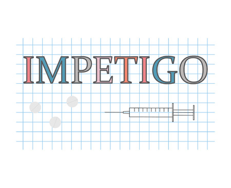 Impetigo word on checkered paper sheet- vector illustration Vettoriali