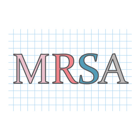 MRSA (Methicillin-resistant Staphylococcus aureus) acronym written on checkered paper sheet- vector illustration Çizim