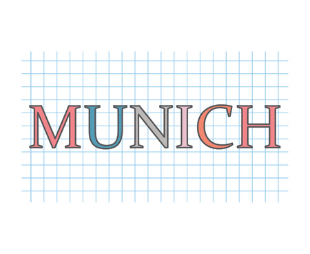 Munich word on checkered paper texture- vector illustration
