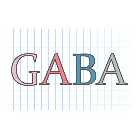 GABA (gamma-Aminobutyric acid) acronym written on checkered paper sheet- vector illustration
