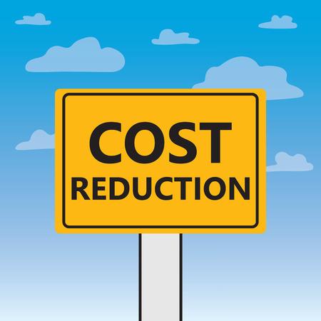 cost reduction written on a billboard- vector illustration Vettoriali
