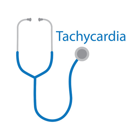 tachycardia word and stethoscope icon- vector illustration Illustration