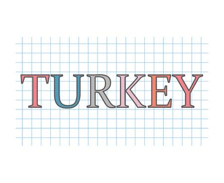 Turkey word on checkered paper texture- vector illustration