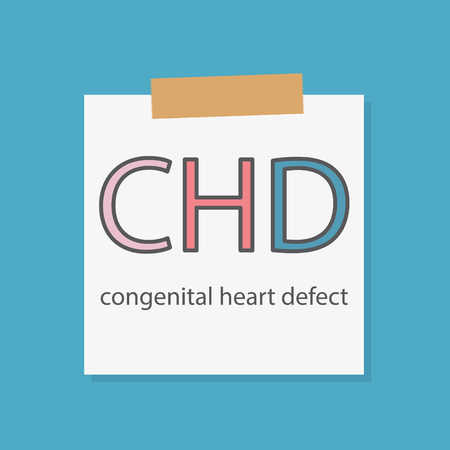 CHD Congenital heart defect written in a notebook paper- vector illustration