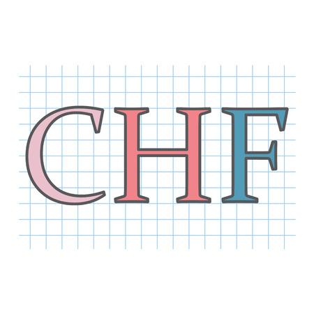 CHF (swiss franc) acronym written on checkered paper sheet- vector illustration