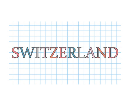 Switzerland word on checkered paper texture- vector illustration