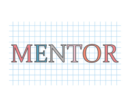 mentor word on checkered paper texture- vector illustration Vetores
