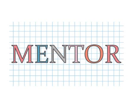 mentor word on checkered paper texture- vector illustration Illustration