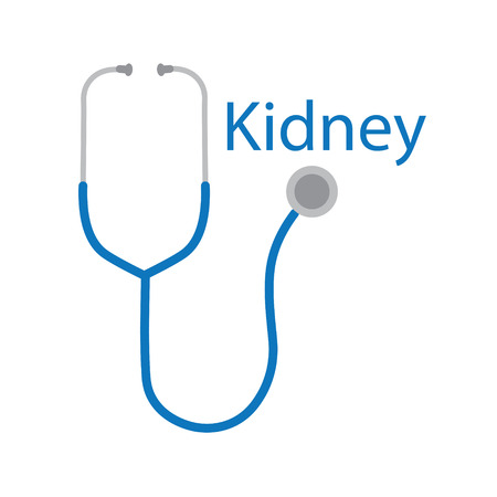 kidney word and stethoscope icon- vector illustration