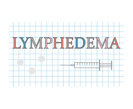 lymphedema word on checkered paper sheet- vector illustration