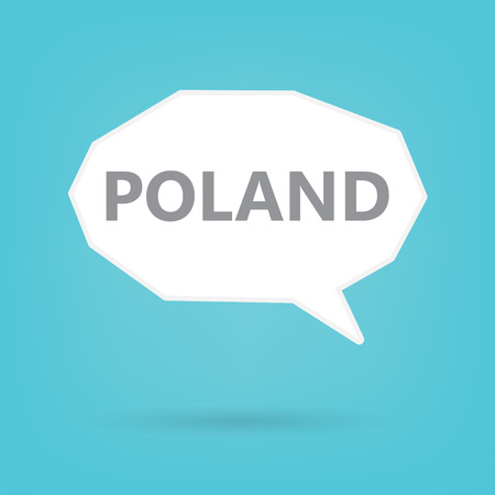 Poland word on a speech bubble- vector illustration