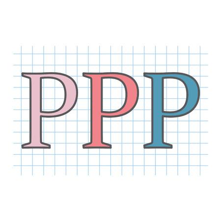 Acronyme PPP (partenariat public-privé) écrit sur une feuille de papier quadrillé- illustration vectorielle