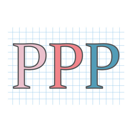 PPP (Public private partnership) acronym written on checkered paper sheet- vector illustration