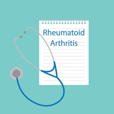 Rheumatoid Arthritis written in a notebook- vector illustration