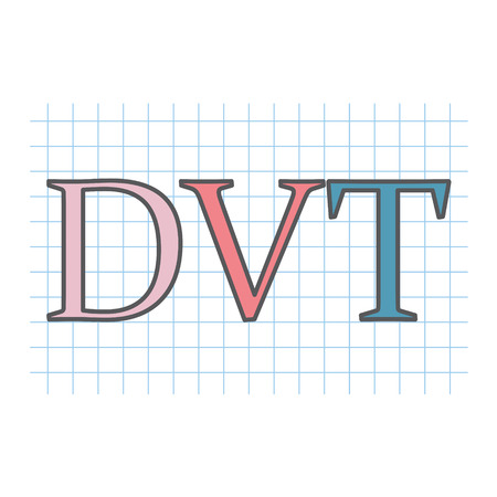 DVT (Deep Vein Thrombosis) acronym written on checkered paper sheet- vector illustration Ilustrace