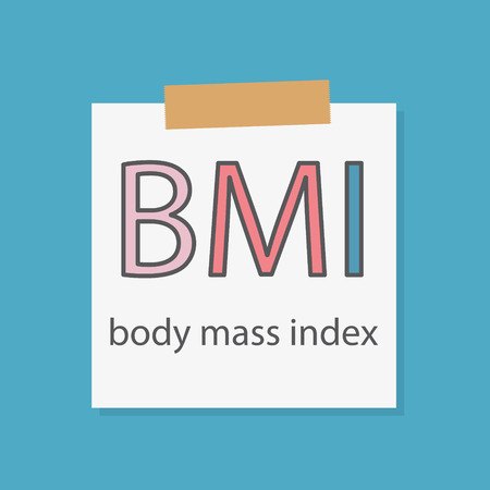 BMI Body Mass Index written in a notebook paper- vector illustration