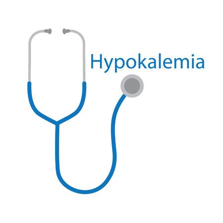hypokalemia word and stethoscope icon- vector illustration