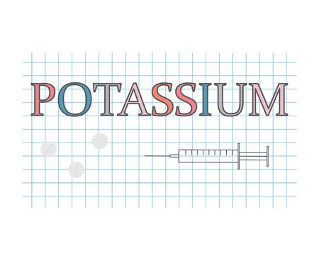 potassium word on checkered paper sheet- vector illustration