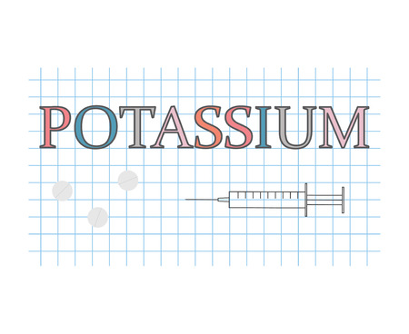 potassium word on checkered paper sheet- vector illustration