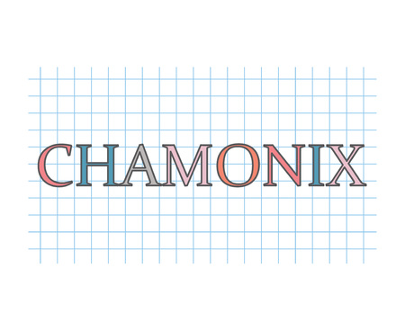 Chamonix word on checkered paper texture- vector illustration
