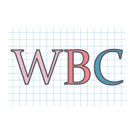 WBC (White Blood Cell) acronym on checkered paper sheet- vector illustration