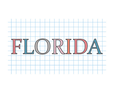 Florida word on checkered paper texture- vector illustration