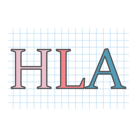HLA (Human leukocyte antigenon) on checkered paper sheet- vector illustration Vettoriali