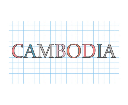 Cambodia word on checkered paper texture- vector illustration