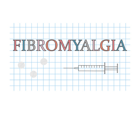 Fibromyalgia word on checkered paper sheet- vector illustration