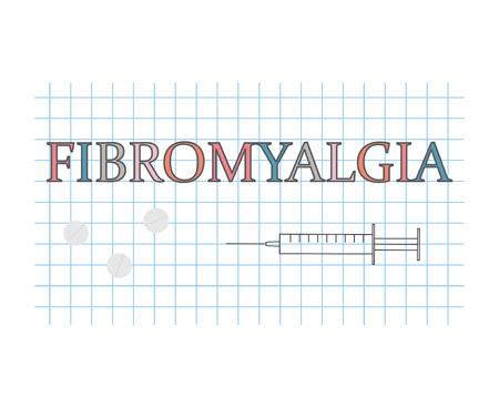 Fibromyalgia word on checkered paper sheet- vector illustration
