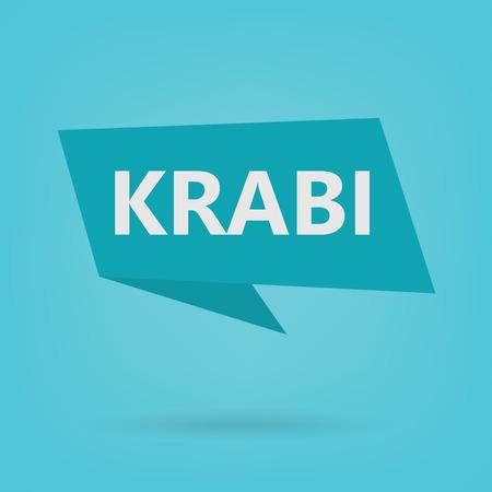 Krabi word on a sticker- vector illustration