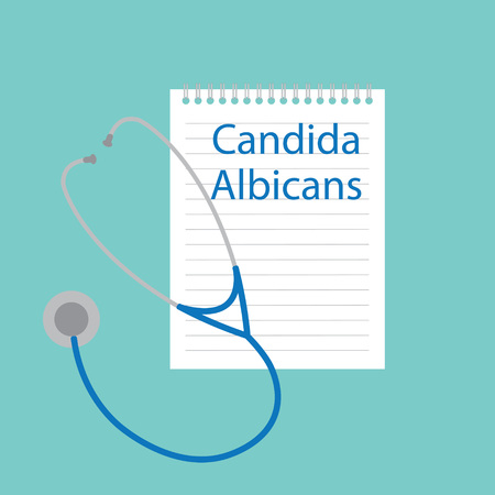 Candida albicans written in a notebook- vector illustration Illustration