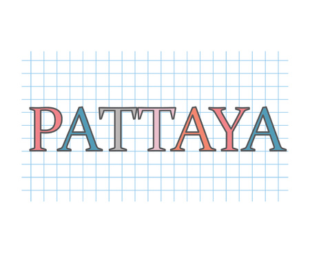 Pattaya word on checkered paper texture- vector illustration