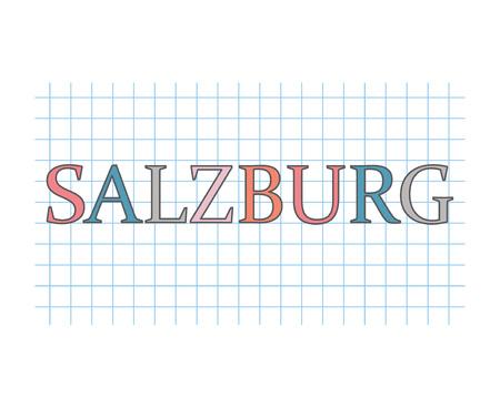 Salzburg word on checkered paper texture- vector illustration