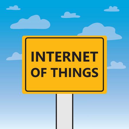 internet of things written on a billboard- vector illustration
