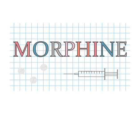 morphine word on checkered paper sheet- vector illustration