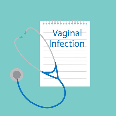 Vaginal infection written in a notebook- vector illustration