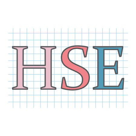 HSE (Health Safety and Environment) acronym on checkered paper sheet- vector illustration
