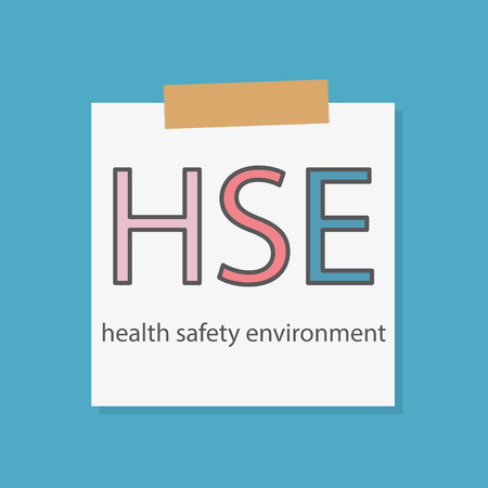 HSE Health Safety and Environment written on a notebook paper- vector illustration