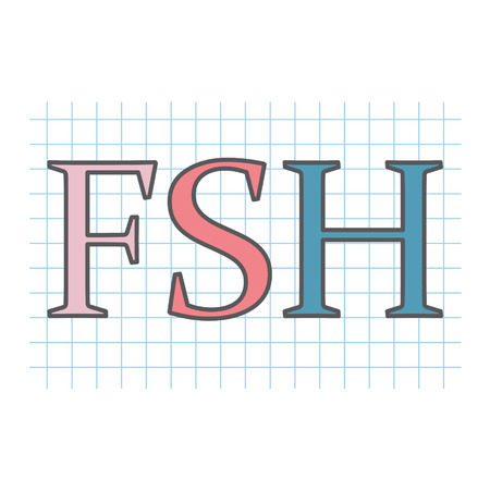 FSH (Follicle-stimulating hormone) acronym on checkered paper sheet- vector illustration