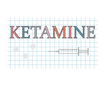 ketamine word on checkered paper sheet- vector illustration