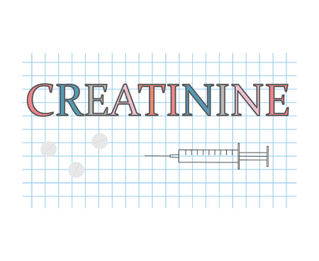 Creatinine word on checkered paper sheet- vector illustration